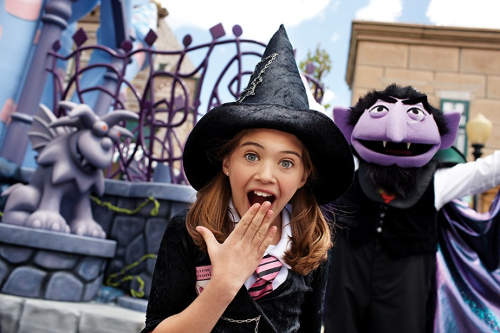 Spooktacular Count and Girl:   Langhorne, Pa. (September 4, 2014) -- Children are encouraged to come in costume during The Count's Halloween Spooktacular at Sesame Place, weekends September 20 through October 26.