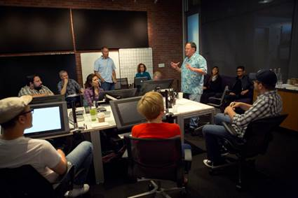 "Director John Lasseter works with members of his story team on Disney•Pixar's ""Toy Story 4,"" a new chapter in the lives of Woody, Buzz Lightyear and the ""Toy Story"" gang. The film is slated for release on June 16, 2017. (Photo by Deborah Coleman / Pixar)"