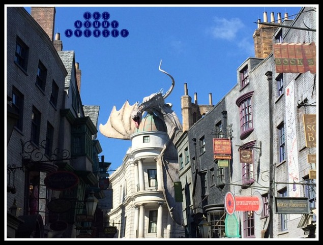 The view of Gringotts and Diagon Alley after entering from the London side
