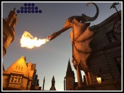 Fire breathing dragon on top of Gringotts at night.
